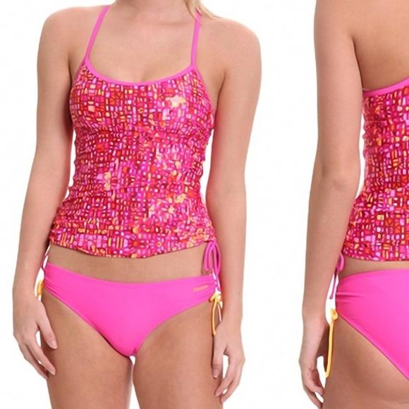 88d6e10ec3 Reebok Swim | Reversible Shirred Tankini Suit Pink | Poshmark